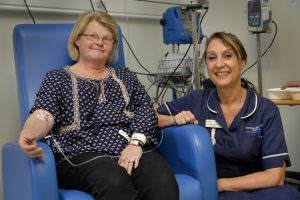 Patient Yvonne Langford with sister Denise Davies on Minster Ward at Newark Hospital
