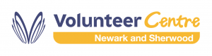 Image shows the Volunteer Centre logo, which has blue and yellow writing.
