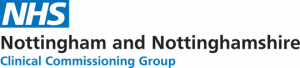 Image is the Nottingham and Nottinghamshire NHS logo. It has the NHS logo in blue and white, and black writing for the name.