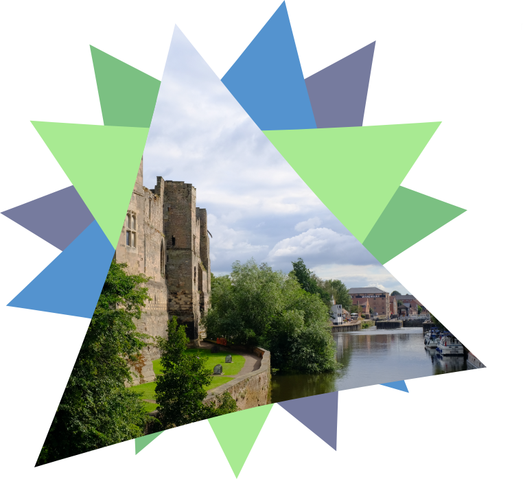 Image shows a cut out of Newark Castle in a triangle, with colourful triangles making the rest of the star.