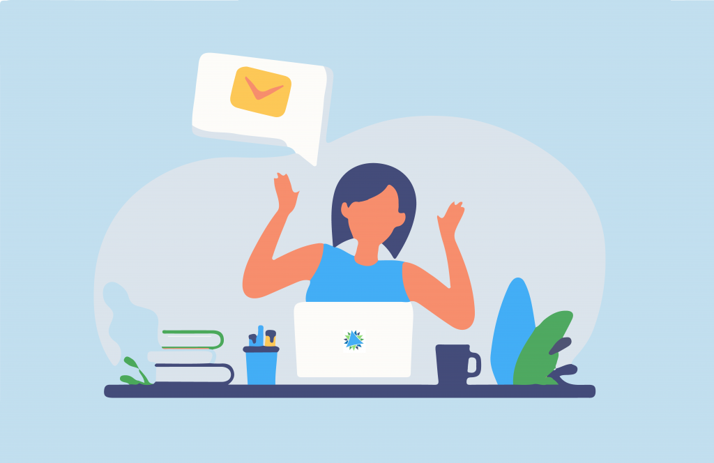 Image is a graphic of a lady sat at a desk, with a computer. There is a speech bubble, with the email icon in it.
