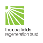 Image shows the Coalfields regeneration trust logo. It is a white sunbeam in a green square, with black writing underneath.
